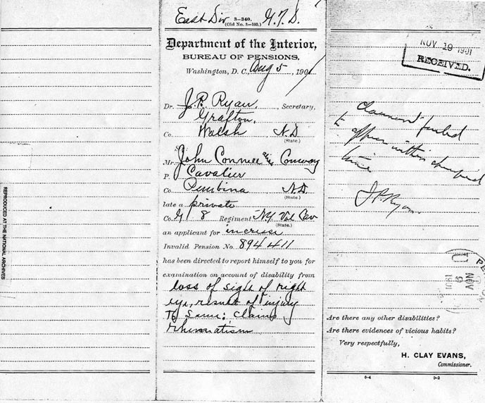 National Archives: John Conmee, Certificate #894411; Claim