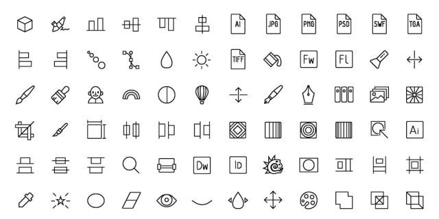 Conjunto de iconos delineados