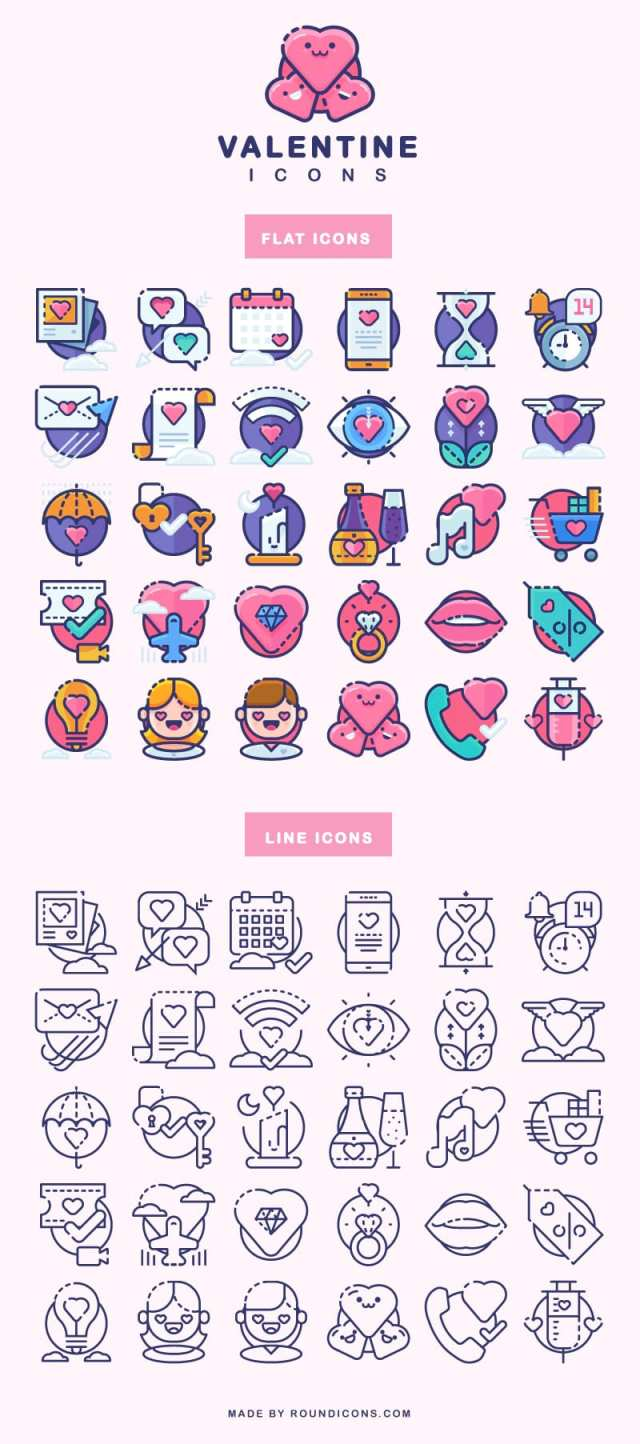 Valentine icons flat line