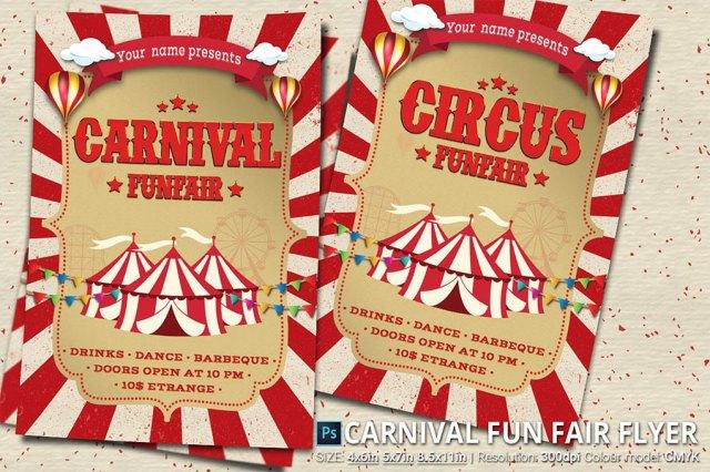 Ejemplo de diseño inspirado en el cirso  |  Carnival Fun Fair Flyer Poster  |  mlmonferrer.es