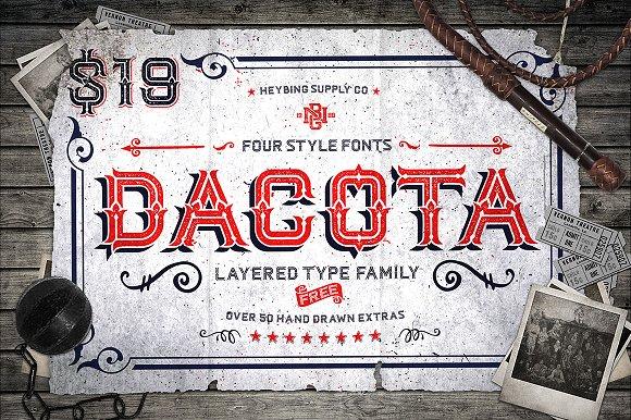 Fuentes inspiradas en el circo | Dacota Layered Typeface | MlMonferrer