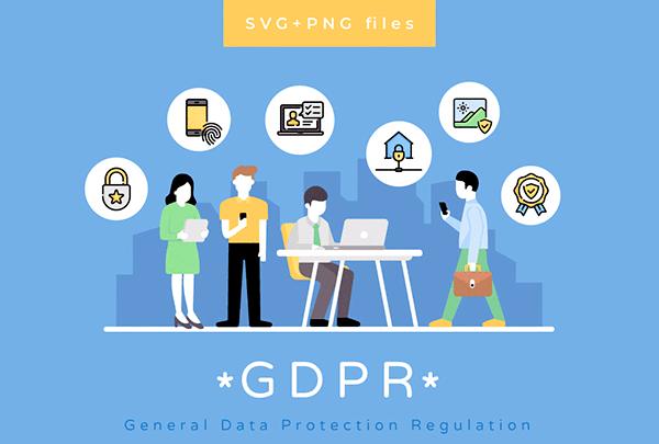 GDPR – General Data Protection Regulation Icon Pack | Recursos gratuitos de julio para diseñadores | mlmonferrer.es