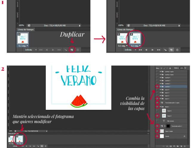 Pasos para construir los fotogramas manualmente  |  Cómo hacer un GIF en Photoshop  | www.mlmonferrer.es