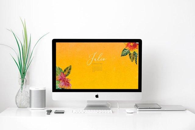 Wallpaper gratuito con calendario de julio de 2018
