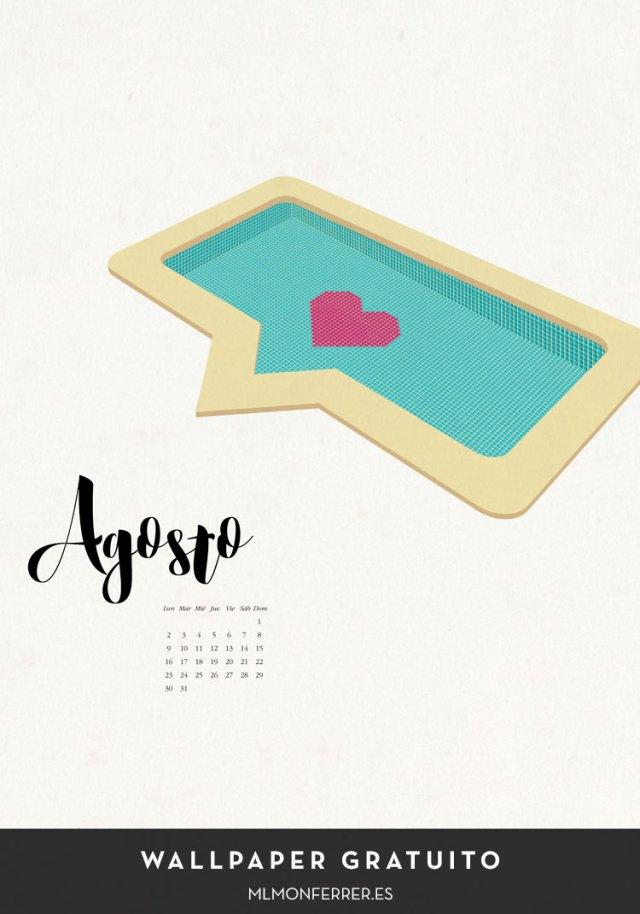 Wallpaper gratuito | Calendario de agosto