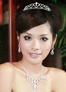 Heart-shaped K Gold-plating Rhinestone Wedding Bridal Jewelry Set