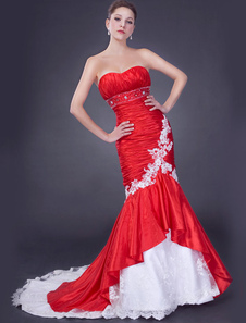 Red Wedding Dresses Sweetheart Mermaid Bridal Gown Ruched Beading Lace Applique African Wedding Dress
