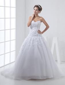 White Net Sweetheart Strapless Sash Wedding Dress