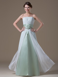 Pretty White Chiffon Strapless Floor Length Maternity Bridesmaid Dress