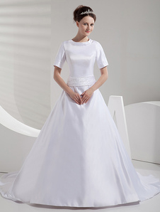 A-line Court Train White Bride's Wedding Dress with Jewel Neck Sash