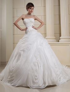 White Strapless Pleated Beading Organza Bridal Wedding Gown