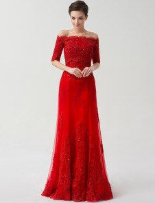 Red Strapless A-Line Applique Lace Tulle Bridal Wedding Gown