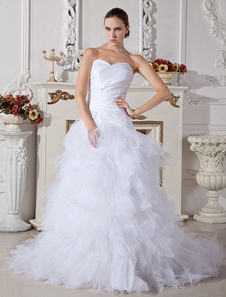 White Wedding Dresses Strapless Sweetheart Neck Bridal Gown Tulle Tiered Pleated Dropped Waist Train Bridal Dress