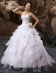 White Sweetheart Multi-Layer Wedding Dress
