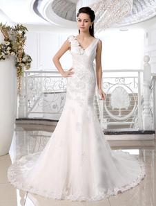 Ivory Taffeta Floral V-neck Glamorous Wedding Dress