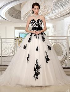 Wedding Dresses Strapless Black Bridal Gown Lace Applique Flowers Sash Beaded Court Train Ivory Tulle Bridal Dress Milanoo