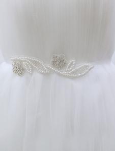 Ivory Wedding Sash Rhinestone Flower Shape Pearls Decoration Bridal Sash