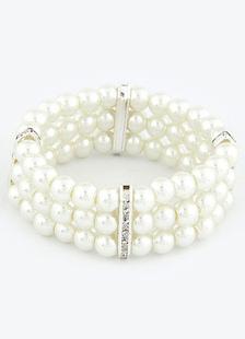 Vintage Wedding Bracelet Pearl Layered Alloy Bridal Bracelet