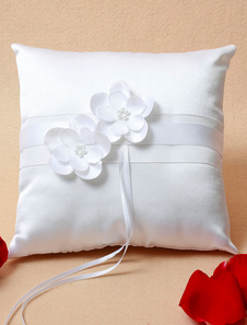 Ring Bearer Pillow White Pearls Flowers Beaded Satin Wedding Pillow With Ribbons