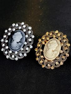 Vintage Wedding Brooch Rhinestone Cameo Oval Bridal Pin Brooch