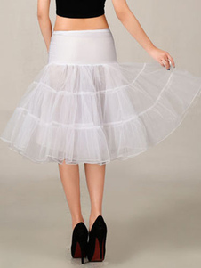White Wedding Petticoat Tulle Boneless Half Slip Three Tier Bridal Petticoat