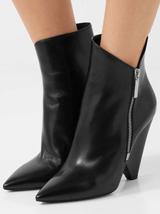 Women's Black Booties Pointed Toe Special Shaped Heel Zip Up Leather Boots
