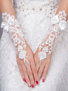 Ivory Wedding Gloves Lace Wrist Length Fingerless Pearls Bows Bridal Gloves