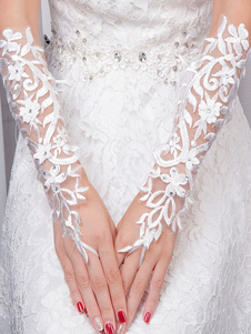 Ivory Wedding Gloves Lace Tulle Elbow Length Fingerless Rhinestones Flowers Bridal Gloves