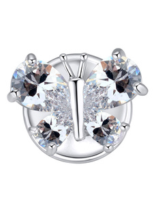 White Wedding Brooches Butterfly Cubic Zirconia Bridal Accessories