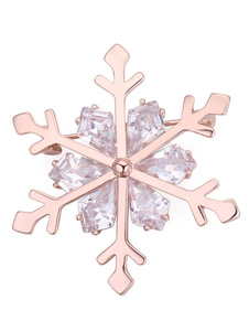 Snowflake Wedding Brooch Pink Gold Cubic Zirconia Bridal Brooches