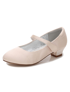 Flower Girls Shoes Champagne Round Toe Chunky Heel Pump Shoes