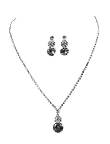Wedding Jewelry Set Silver Rhinestones Alloy Bridal Pendant Necklace With Pierced Earrings