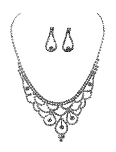 Silver Wedding Jewelry Set Rhinestones Lobster Claw Clasp Bridal Necklace With Earrings