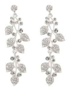 Silver Wedding Earrings Rhinestone Leaf Jewelry Beaded Long Bridal Earrings