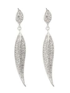 Wedding Silver Earrings Leaf Rhinestone Jewelry Long Bridal Earrings