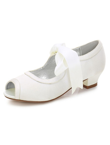 Ivory Wedding Flower Girl Shoes Peep Toe Lace Up Party Shoes