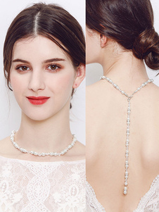 Wedding Necklace Pearls Backdrop Chain Beaded Ecru White Bridal Jewelry