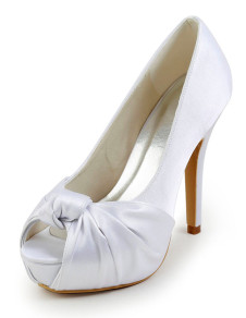 Sweet Stiletto Heel Peep Toe Silk And Satin Fashion Woman's Wedding Shoes