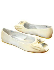 Ivory Peep Toe Bow Silk And Satin Flats for Bride
