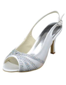 Fabulous White Bow Peep Toe Silk And Satin Bridal Pumps