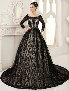 Black Wedding Dress A-line Scoop Neck Sequin Chapel Train Lace Wedding Gown Milanoo