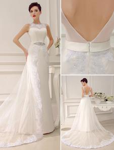 Jewel Neck Backless Court Train Sheath Lace Sash Rhinestone Bridal Wedding Dress Milanoo
