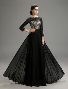 Black Wedding Dress with Beaded Bateau Neck Line Lace Dress