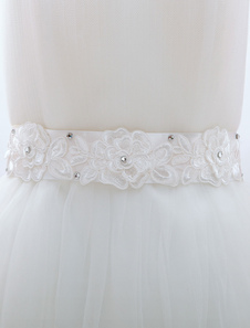 White Lace Applique Bridal Wedding Sash