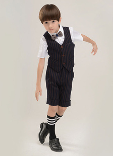 Multicolor Boy's Suit Stripes Trendy Polyester Children's Suit