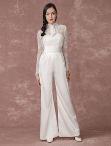 Lace Wedding Jumpsuits Long Sleeves Bridal Wedding Pants Back Illusion Satin A-line Culottes Bridal Dress Milanoo