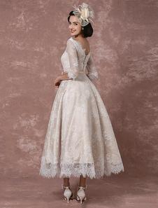 Lace Wedding Dress Vintage Bateau Champagne Half Sleeves Bridal Gown A-line Backless Tea-length Sash Reception Bridal Dress Milanoo