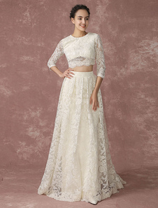 Crop Top Lace Wedding Dress Back Design Pockets Bridal Gown Quarter Sleeves Court Train Bridal Dress Milanoo