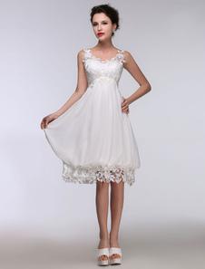 Short Wedding Dress White Lace Chiffon Sweetheart Summer Wedding Dresses 2017 High Waist Knee Length Bridal Dress