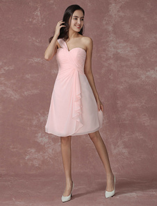 Blush Bridesmaid Dress Pink Chiffon One Shoulder Ruffle Ruched A Line Knee Length Wedding Party Dress